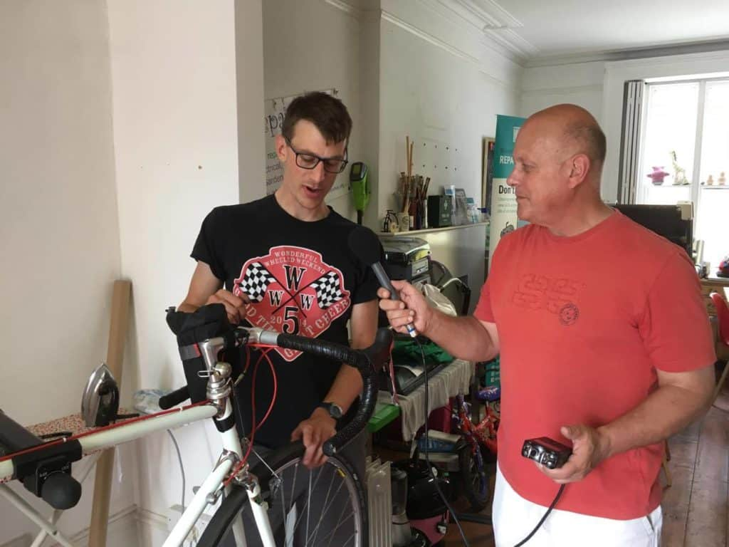 Simon Baldock at the Colchester Bike Kitchen for Actual Radio Essex